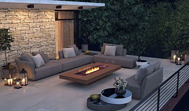 Outdoor entertaining space - Residential Fireplace Ideas