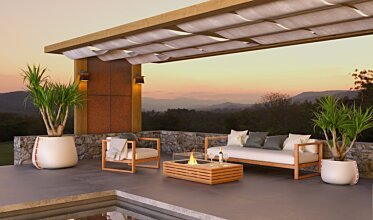 Outdoor entertaining area - Residential Fireplace Ideas
