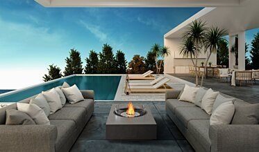 Poolside - Residential Fireplace Ideas