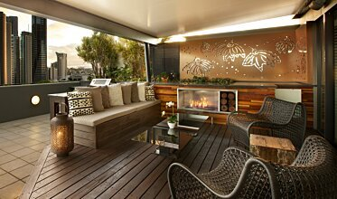 Private Balcony - Outdoor Fireplace Ideas