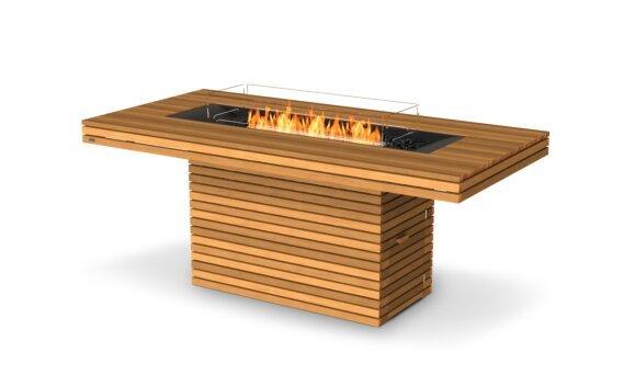 Gin 90 (Bar) Fire Table - Ethanol / Teak / Optional Fire Screen by EcoSmart Fire