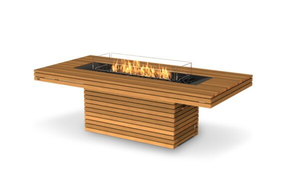 Gin 90 (Dining) Fire Table - Gas LP/NG / Teak by EcoSmart Fire