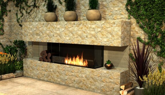 Outdoor Setting - Flex 86BY.BXL Flex Fireplace by EcoSmart Fire