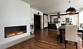 Dining Area Linear Fires Flex Fireplace Idea