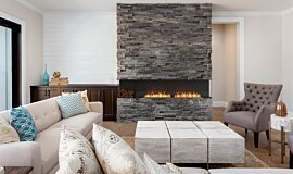 Lounge Room Linear Fires Flex Fireplace Idea