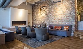Lobby Linear Fires Flex Fireplace Idea