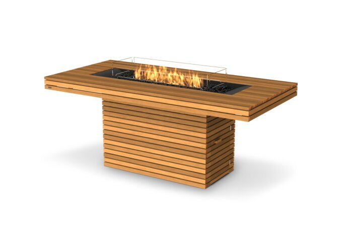 Gin 90 (Bar) Fire Table - Gas LP/NG / Teak by EcoSmart Fire