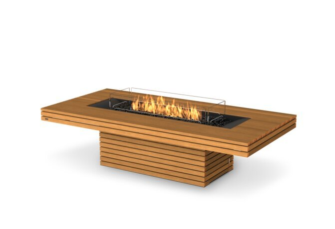 Gin 90 (Chat) Fire Table - Gas LP/NG / Teak by EcoSmart Fire