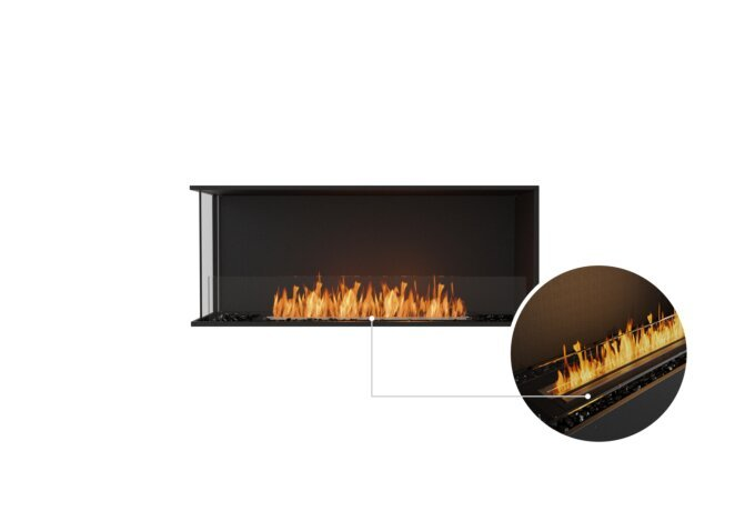 Flex 50LC Left Corner - Ethanol - Black / Black / Installed View by EcoSmart Fire