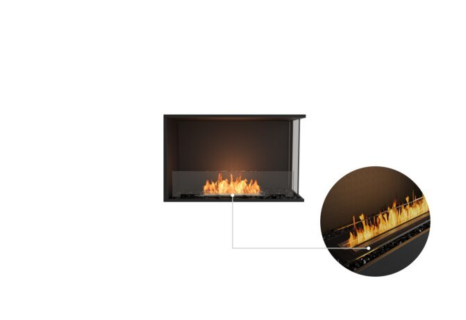Flex 32RC Right Corner - Ethanol - Black / Black / Installed View by EcoSmart Fire