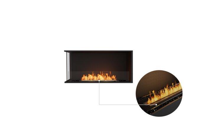 Flex 42LC Left Corner - Ethanol - Black / Black / Installed View by EcoSmart Fire