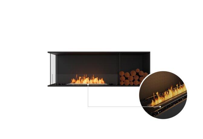 Flex 60LC.BXR Left Corner - Ethanol - Black / Black / Installed View by EcoSmart Fire