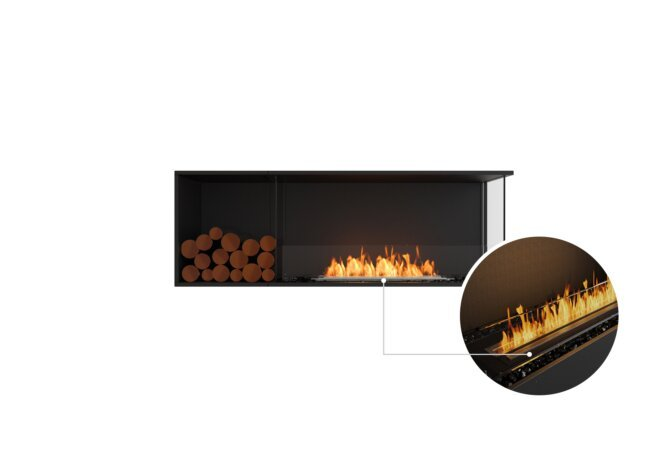 Flex 60RC.BXL Right Corner - Ethanol - Black / Black / Installed View by EcoSmart Fire