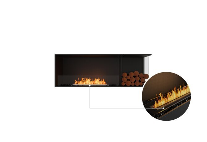 Flex 60RC.BXR Right Corner - Ethanol - Black / Black / Installed View by EcoSmart Fire