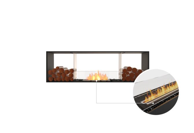 Flex 68DB.BX2 Double Sided - Ethanol - Black / Black / Installed View by EcoSmart Fire