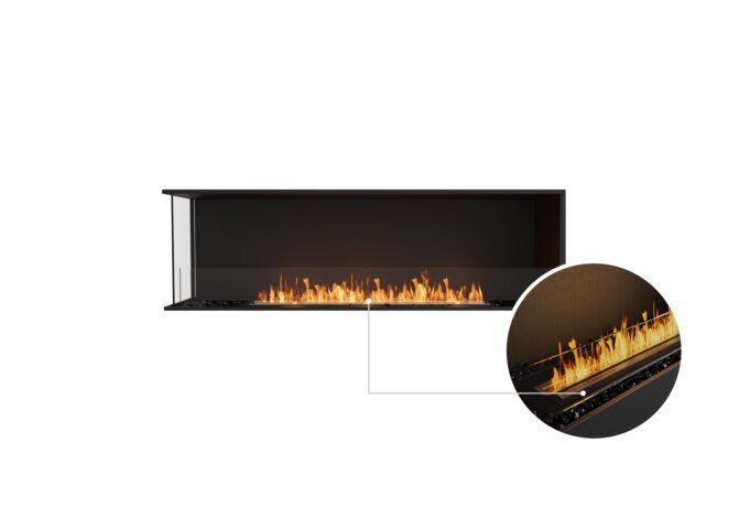 Flex 68LC Left Corner - Ethanol - Black / Black / Installed View by EcoSmart Fire