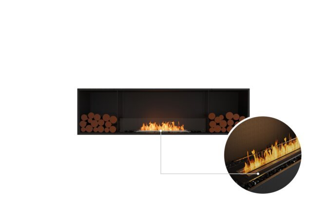 Flex 78SS.BX2 Single Sided - Ethanol - Black / Black / Installed View by EcoSmart Fire