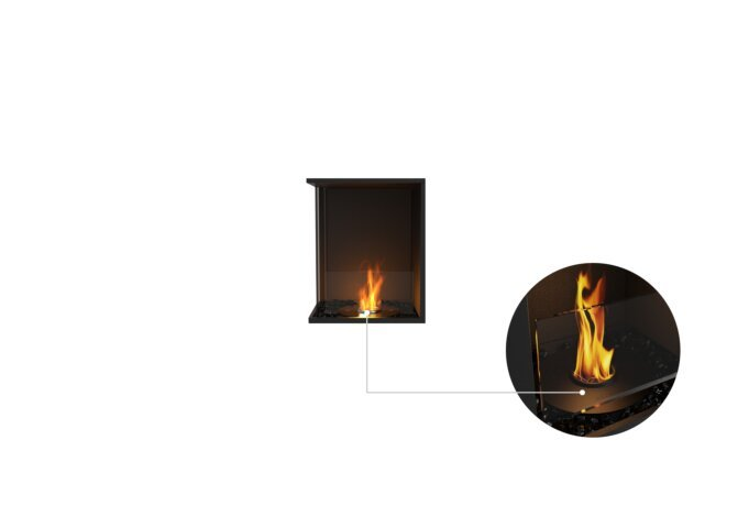Flex 18LC Left Corner - Ethanol - Black / Black / Installed View by EcoSmart Fire