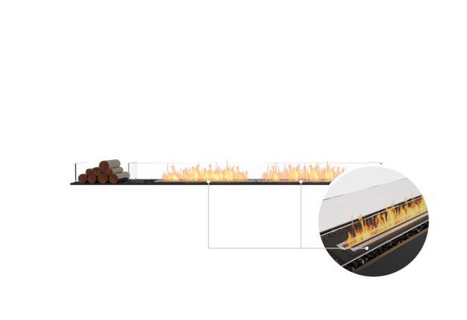 Flex 104BN.BX1 Bench - Ethanol - Black / Black / Installed View by EcoSmart Fire