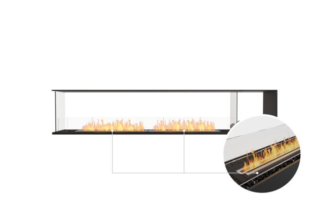 Flex 104PN.BXR Peninsula - Ethanol - Black / Black / Installed View by EcoSmart Fire