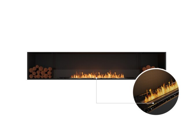 Flex 104SS.BX2 Single Sided - Ethanol - Black / Black / Installed View by EcoSmart Fire