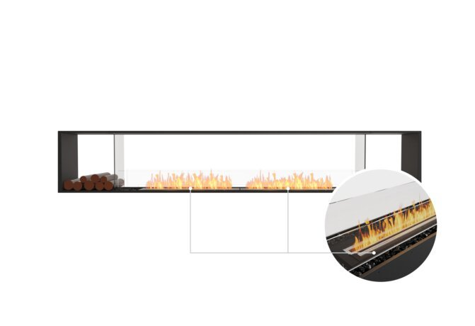 Flex 122DB.BX2 Double Sided - Ethanol - Black / Black / Installed View by EcoSmart Fire