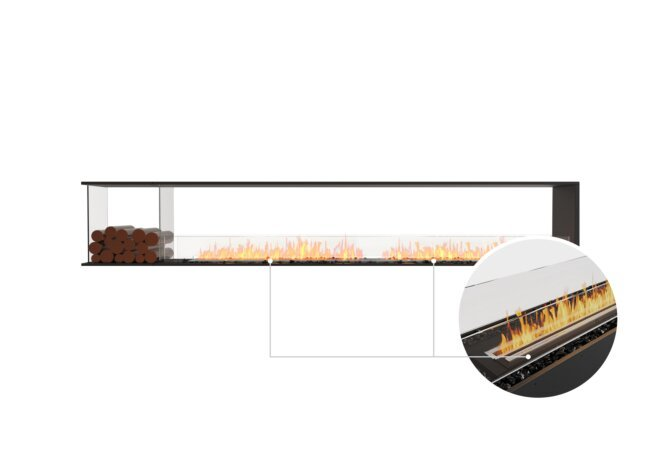 Flex 122PN.BXL Peninsula - Ethanol - Black / Black / Installed View by EcoSmart Fire