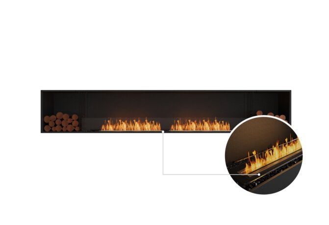Flex 122SS.BX2 Single Sided - Ethanol - Black / Black / Installed View by EcoSmart Fire