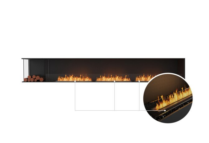 Flex 140LC.BXL Left Corner - Ethanol - Black / Black / Installed View by EcoSmart Fire