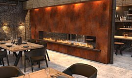 Restaurant Setting See-Through Fireplaces Built-In Fire Idea