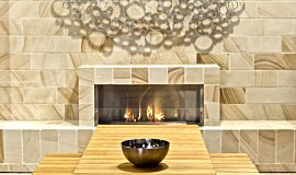 EcoOutdoor Premium Fireplace Series Built-In Fire Idea
