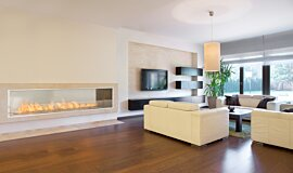 Living Area EcoSmart Fire Fireplace Insert Idea
