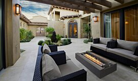 Courtyard Freestanding Fireplaces Fire Pit Idea