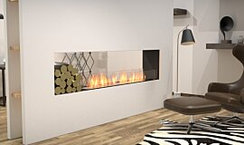 Living Area See-Through Fireplaces Built-In Fire Idea