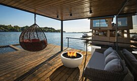Waterfront Dock Freestanding Fireplaces Fire Table Idea