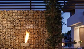 New American Home  Outdoor Fireplaces Designer Fireplace Idea