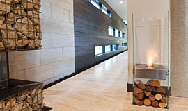 New American Home Indoor Fireplaces Designer Fireplace Idea