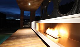 Portsea Private Pool Pavilion Linear Fires Ethanol Burner Idea