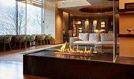 Midorinokaze Resort Kitayuzawa Linear Fires Ethanol Burner Idea