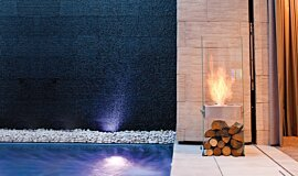 New American Home See-Through Fireplaces Designer Fireplace Idea