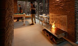 Commercial Space See-Through Fireplaces Designer Fireplace Idea